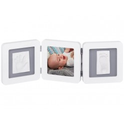 Baby art marco foto con huella doble blanco/gris