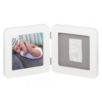 Baby art marco foto con huella blanco/gris
