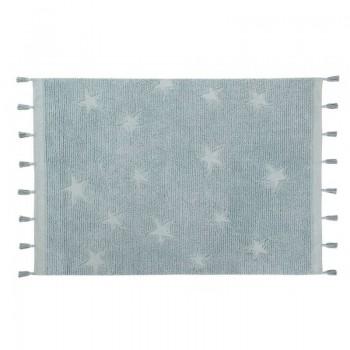 Lorena canals alfombra lavable Hippy stars aqua blue 120 x 175 cm