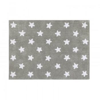 Lorena canals alfombra lavable estrellas gris-blanco 120 x 160 cm