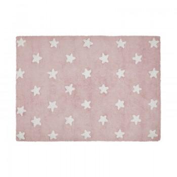 Lorena canals alfombra lavable  estrellas rosa-blanco 120 x 160 cm