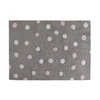 Lorena canals alfombra lavable topos tricolor gris-rosa 120 x 160 cm