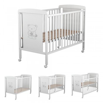 Cuna de Bebés Ibaby Dreams Sweet. 8 posiciones de somier. Lateral abatible. Color blanco.