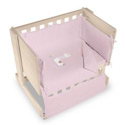 Casual organic minicuna colecho-escritorio-juguetero llama natural