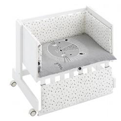 Casual organic minicuna colecho-escritorio-juguetero blanca león.