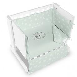Casual organic minicuna colecho-escritorio-juguetero happy blanca