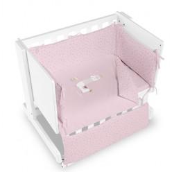 Casual organic minicuna colecho-escritorio-juguetero llama blanca