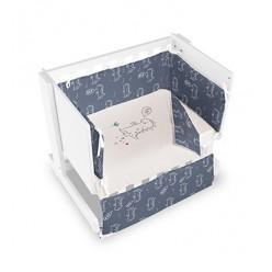 Casual organic minicuna colecho-escritorio-juguetero dinos blanca