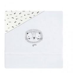 Coimasa juego de sábanas de punto casual organic león, minicuna 50x80