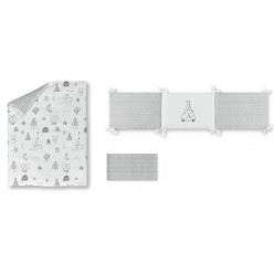 Casual organic Set de funda nórdica con relleno + funda almohada + protector indian