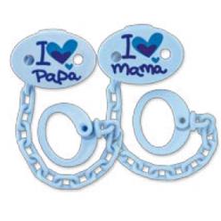 Planet baby Pinza Sujeta-chupetes Mamá-Papá Azul