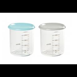 Beaba set de 2 potitos de conservación 240ml azul/gris