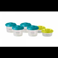 Beaba lote 6 potitos clip 60/120ml azul/neon