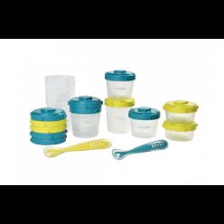 Beaba Pack  premier repas 12 potitos + 2 cucharas verde/azul