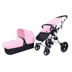 Baby ace 042 duo silver + base black + vestimenta y capota basic de piel ecológica