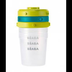 Beaba lote 6 potitos clip 200ml azul/neon