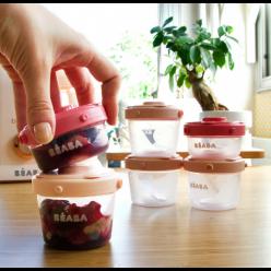 Beaba lote 6 potitos clip 60/120ml rosa